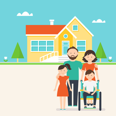 Accessible Housing for Families and Kids with Special Needs Illustration Vettoriali