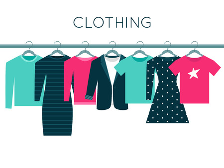 fashion clothes: Shirts, Sweatshirt, Jacket and Dresses on Hangers. Clothing Vector Illustration Illustration
