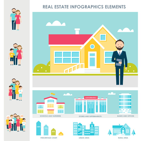 apartment building: Real Estate, Accommodation and Renting Vector Infographics Elements Illustration