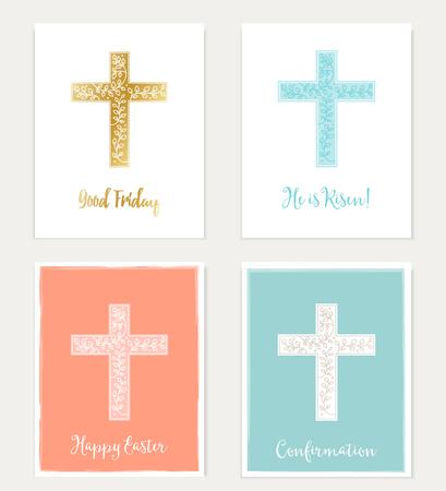 confirmacion: Conjunto de cruz y de las flores Tarjetas cristiana. Pascua, Viernes Santo, Diseño Confirmación del vector Vectores