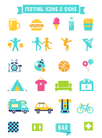 break dance: Festival, Concert and Camping Flat Icons and Signs Set Illustration