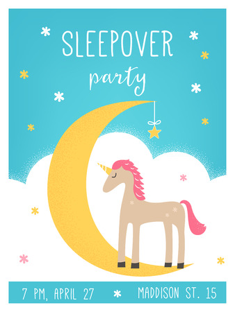 slumber party: Moon and Unicorn Pajama Sleepover Kids Party Invitation Card Vector