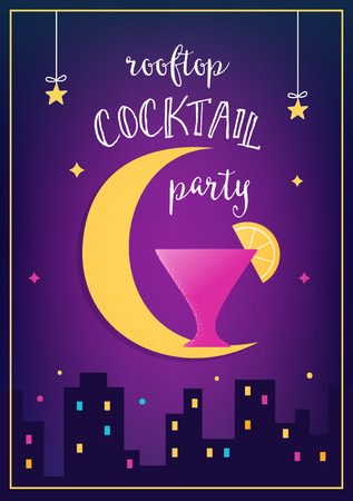 rooftop: Rooftop Cocktail  Party Invitation Cards with Lights, Moon and Glass