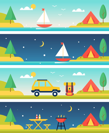 moon chair: Tents, Parking, Lake and Barbecue at Summer Camp. Flat Vector Headers Set