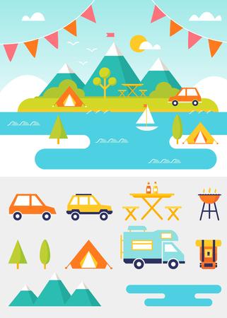 ricreazione: Lago, spiaggia, boschi e l'estate montagne del paesaggio. Set di outdoor, il campeggio e gli elementi di ricreazione Vettoriali