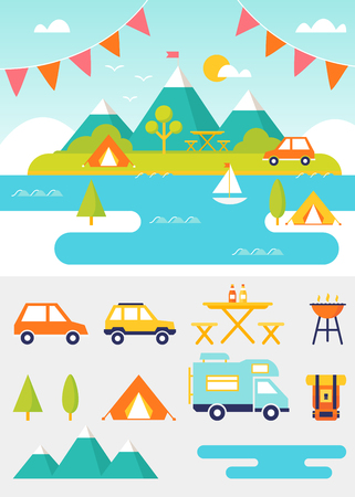 recreation: Lake, beach, woods and mountains summer landscape. Set of outdoor, camping and recreation elements