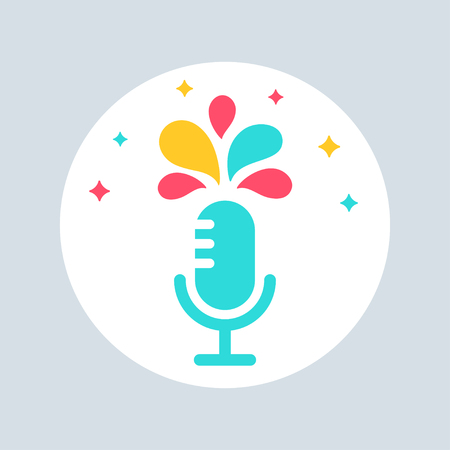 briefing: Microphone with Colourful Splashes. Public Speaking and Presentation Sign Illustration