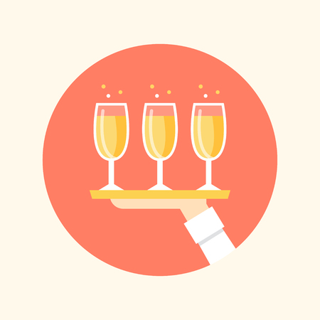 company person: Hand Holding Tray with Chanpagne Glasses. Catering and Event Illustration Illustration