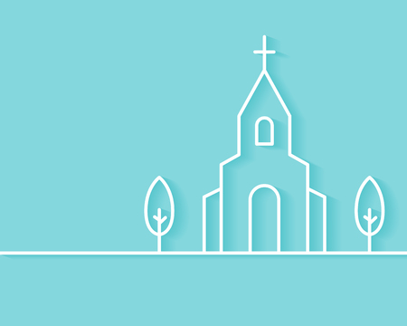 Christian Church Building Background. Flat Outline Style