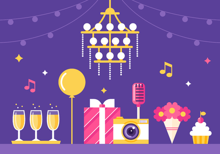 event party: Event , Party and Celebration Flat Style Illustration
