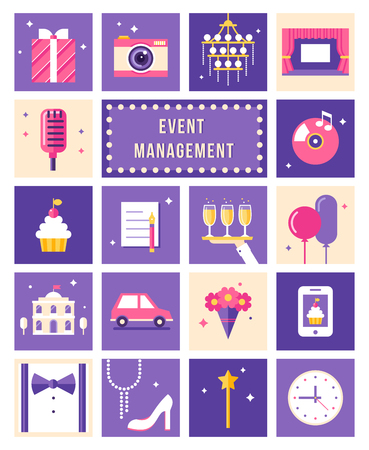 event management: Event Management , Party and Celebation Flat Style Icons Set Illustration