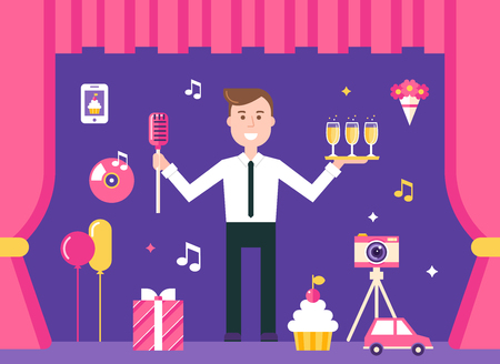 event party: Event Manager on Stage Surrounded by Event and Party Objects. Event Management and Event Agency Illustration