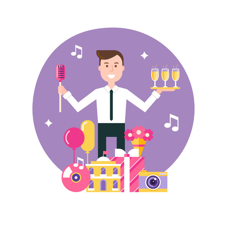 event management: Event Manager Surrounded by Event and Party Objects. Event Management and Event Agency Illustration Illustration