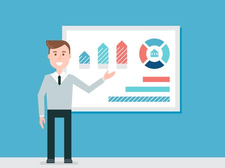 presentation screen: Speaker Giving Presentation Using Diagrams Charts Illustration