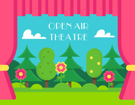 Nature Landscape and Theatre Curtains. Open Air and Outdoor Theatre Illustration