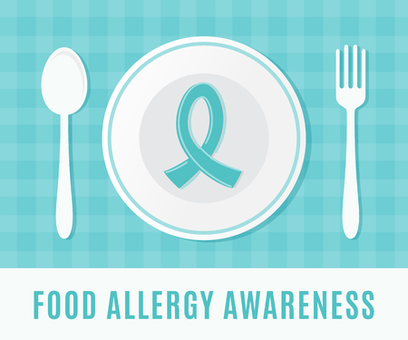 health concern: Food Allergy Awareness Ribbon with Plate, Spoon and Fork. Illustration