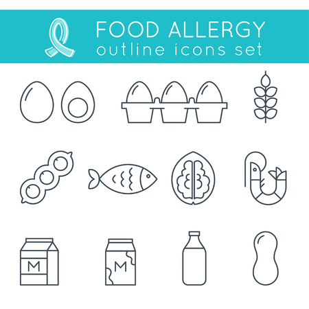 food icon: Food Allergy Triggers Flat Outline Icons Set Illustration