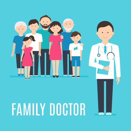 Extended Family and Medical Doctor or Physician. Illustration