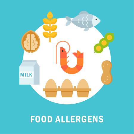 alergenos: Alimentos que causan alergia o al�rgenos plana Ilustraci�n Vectores
