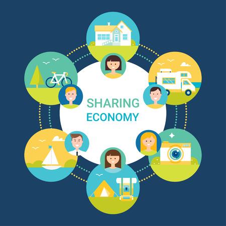 La condivisione Illustrazione Economia. Persone e oggetti icone. Stile piatto Vettoriali