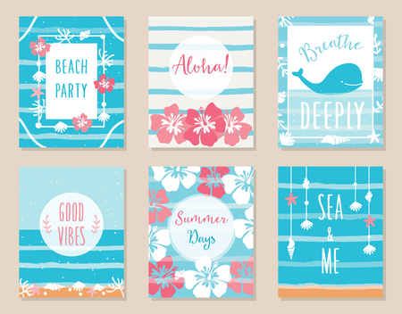 deeply: Summer Ocean and Beach Theme Hawaiian Posters and Cards. Illustration