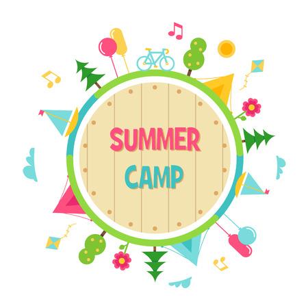 Camp d'été pour enfants et activités en plein air Cercle Sign