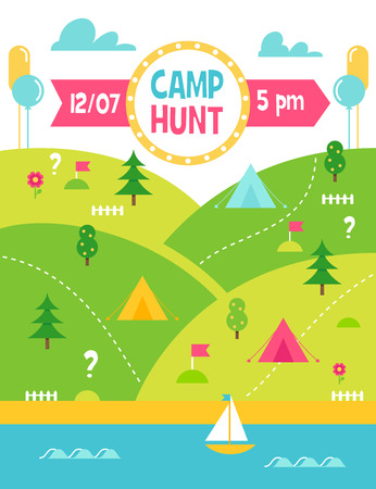 Summer Camp Hunt, Quest and Outdoor Activities. Landscape Poster