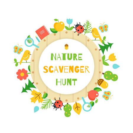 Nature Scavenger Hunt. Kids Game Poster