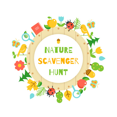 Nature Scavenger Hunt. Kids Game Poster