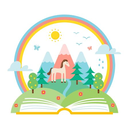 environment protection: Open Book and Nature Landscape of Hills and Rainbow. Science and Nature Study Illustration. Ecology and Environment Protection