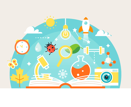 book concept: Open Book with Science and Nature Study Symbols. Education Concept Illustration