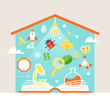 schooling: Open Book and School Subjects Symbols. Home Schooling Education Concept Illustration