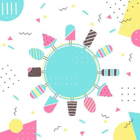encouragements: Ice-cream and ice pop on Sticks. Colorful Vector Background with Round Sign