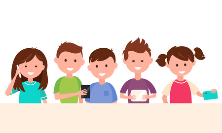 internet safety: Kids Using Tech Gadgets. Children and Technology Concept Vector Illustration