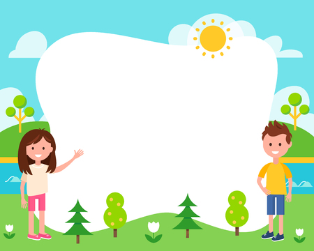 Kids and Summer Landscape Poster Vector Template Illustration