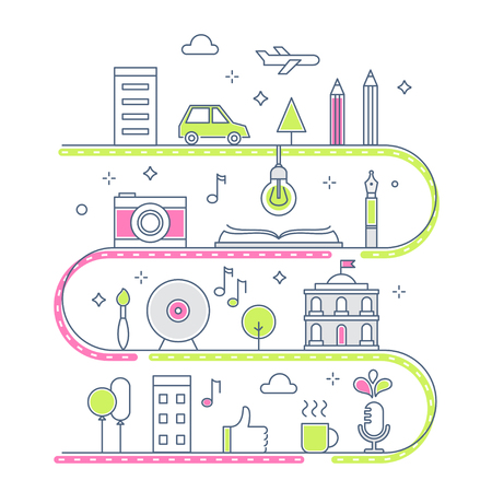 imaginary line: Road through Imaginary Line Town. Creative Process Concept. Vector Illustration