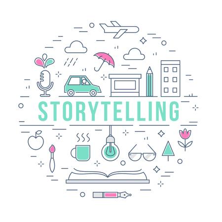 Contar una historia y el proceso creativo Ilustración Concepto línea vector Ilustración de vector