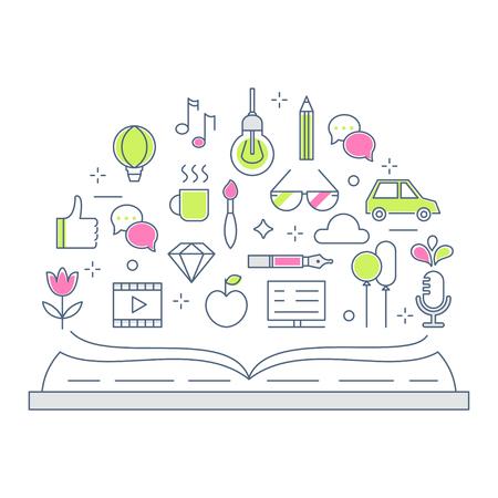 Lecture et Storytelling Ligne Vector Illustration Flat