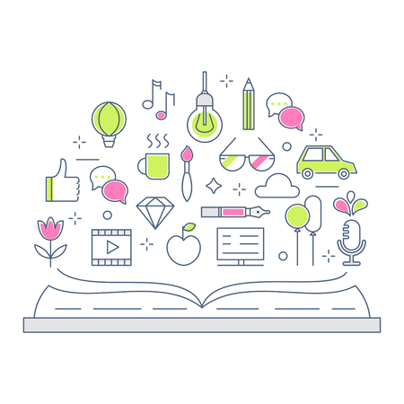 narrative: Reading and Storytelling Line Vector Flat Illustration