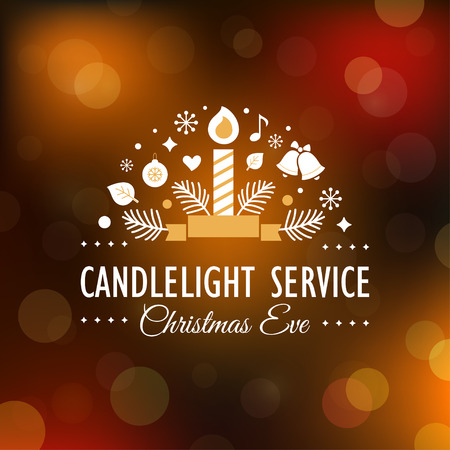 bell: Christmas Eve Candlelight Service Invitation. Blurry Background