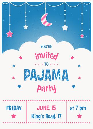 pijamada: Invitación del partido del Sleepover niños pijama o plantilla del cartel
