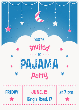 entertainment event: Pajama Sleepover Kids Party Invitation Card or Poster Template Illustration