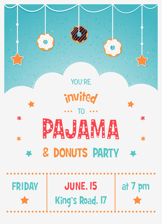 sleepover: Pajama and Donuts Kids Party Invitation Card Template