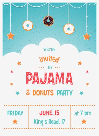 pijamada: Pijama y la tarjeta de invitaci�n del partido Kids 'Donuts