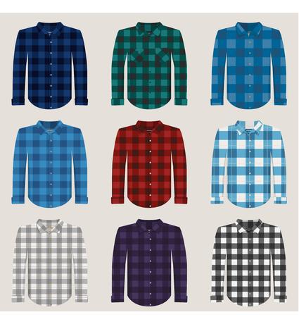 madras: Plaid Patterned Shirts for Men Vector Set Illustration