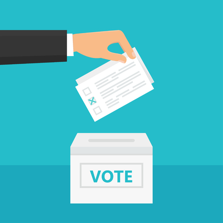 hand holding paper: Man holding ballot paper in his hand and putting it into ballot box. Elections and Voting Theme Illustration