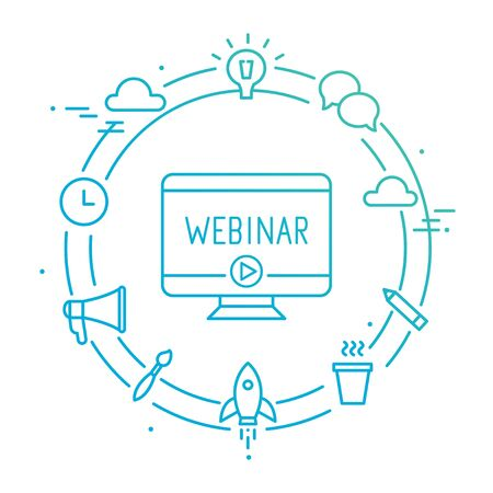 Computer Omringd door Outline Sociale Pictogrammen. Webinar, Webcast, Livestream, Online Event Illustratie