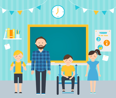 inclusion: Male Teacher with Young Students in Classroom. Including Students with Special Needs Concept
