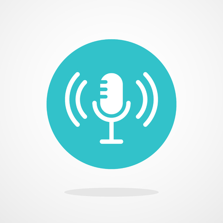 transmit: Microphone Icon. Webcast, Live Stream, Webinar Illustration Illustration
