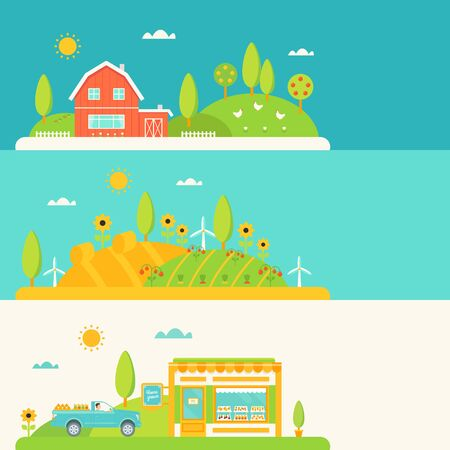orchard fruit: Agriculture and Farming Horizontal Banners Set Illustration